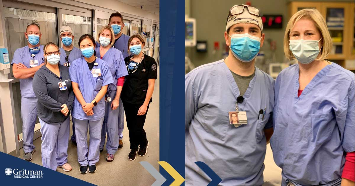 Pictured are dr. Nick garrett and dr. Sara lawrence, with our dedicated emergency department nurses.
