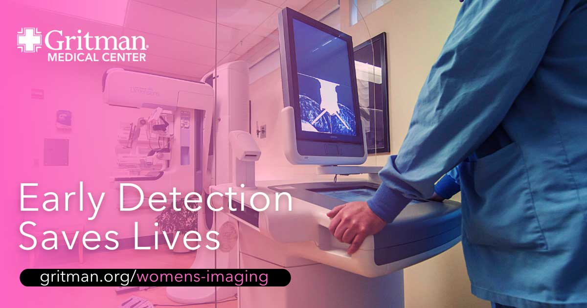 Annual mammogram screenings through the patricia j. Kempthorne women's imaging center at gritman medical center help with early detection of breast cancer.