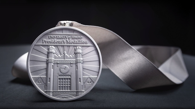 The University of Idaho President Medallion is pictured