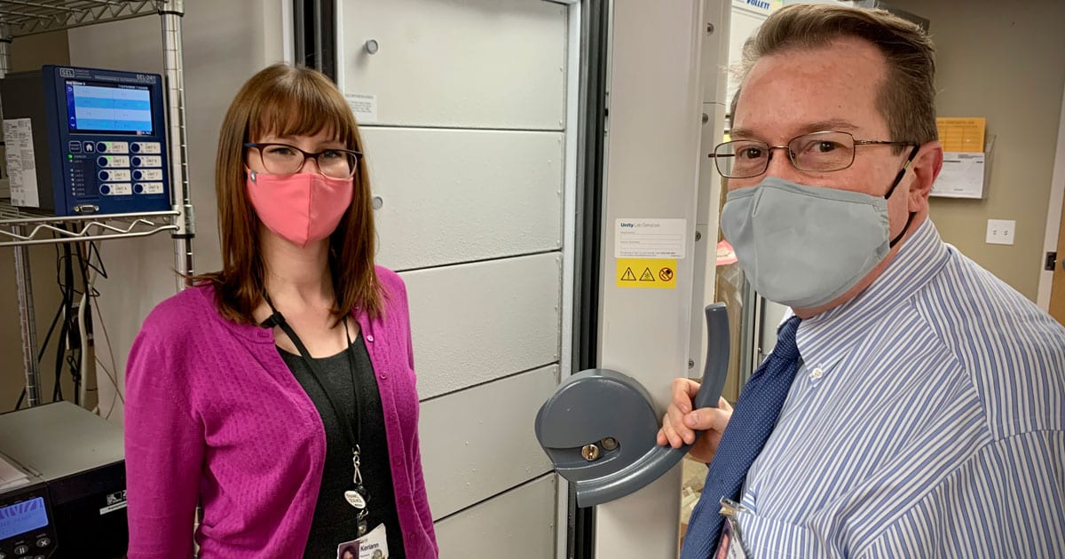 Gritman Chief Information Officer Kane Francetich and Pharmacist Keriann Bennett in a secured area of the hospital that has been prepared to receive and store COVID-19 vaccines.