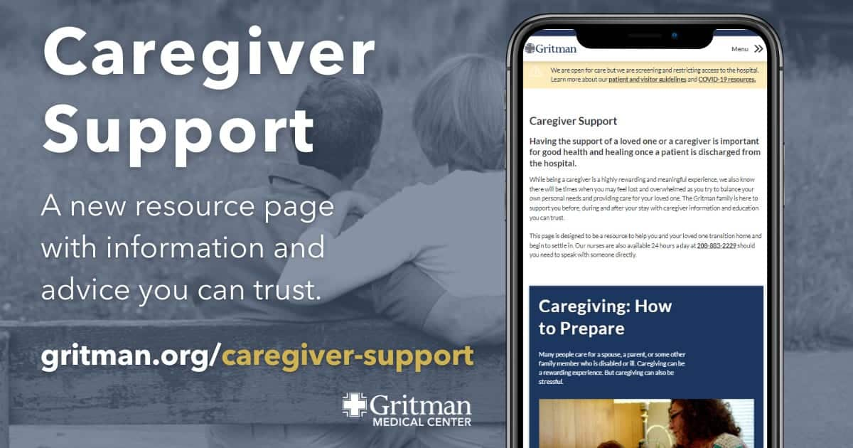 Gritman Medical Center caregiver support graphic with a cellphone showing the page in mobile format
