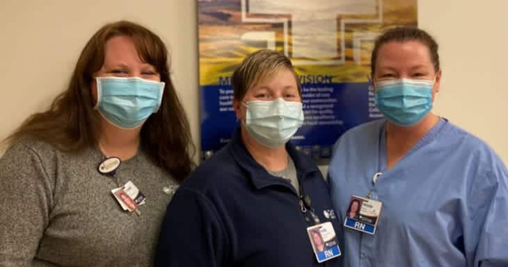 Crystal Schluter, Care Management director; Holly Hall, nursing leader; and Nichole Wheaton, Emergency Department director.